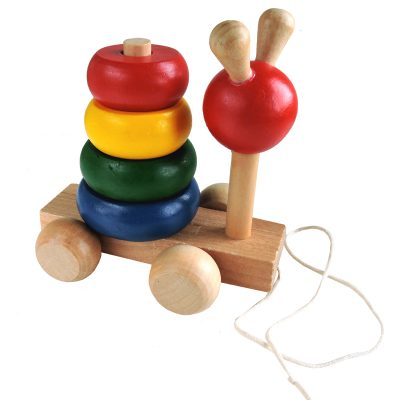 wooden pull stacker bug