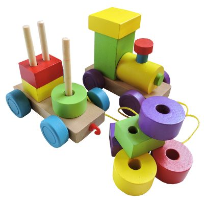 wooden stacker pull train baby