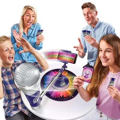 spin to sing microphone game