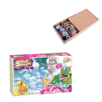 MLP 5Pk Wood Puzzles in Wood tray