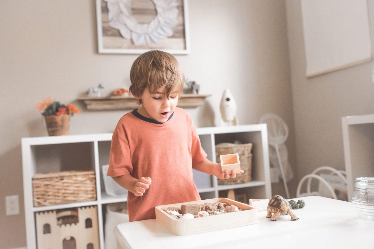 boy holding wooden blocks